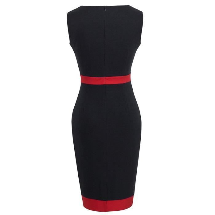 Femmes Vintage Patchwork Bodycon col rond Robe crayon B275 2ICQAD Taille-34