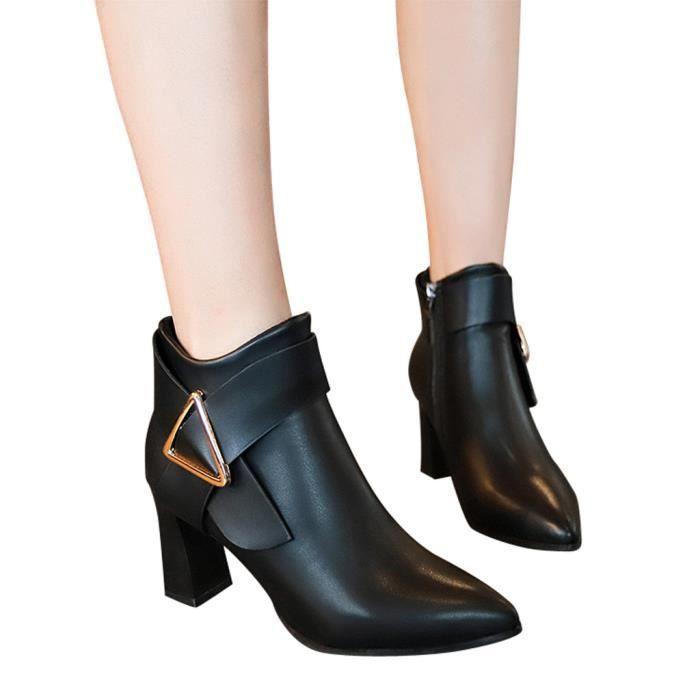confor700 Couleur Femmes Hiver Haut Cuir Zipper Chaussures Talon Rond En Solide Bottes Bout HanqEw