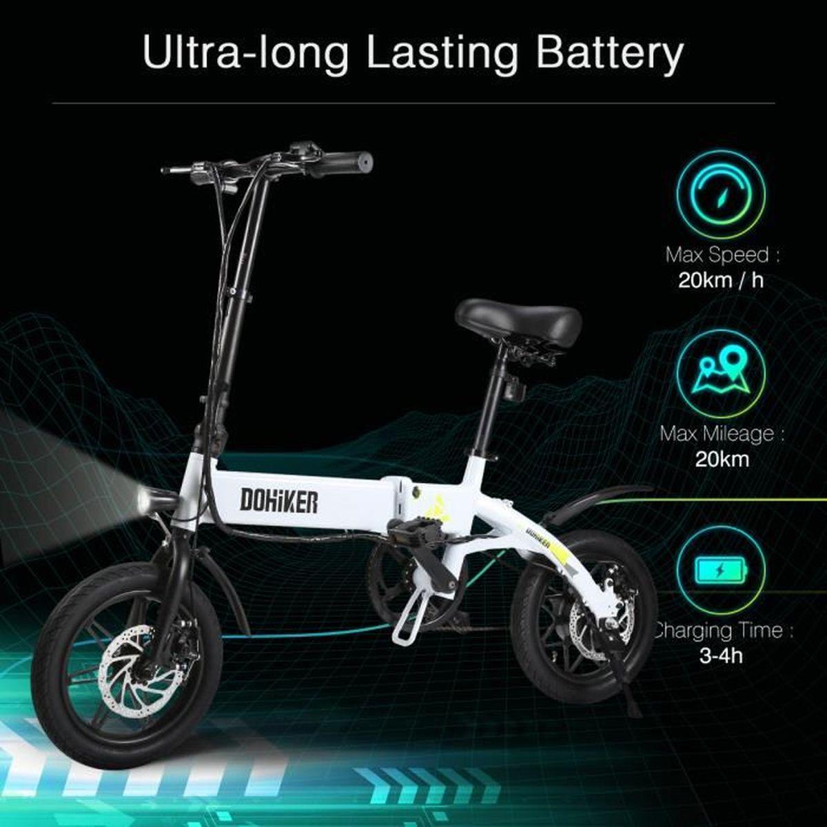 add87fef6f2e2b Excelvan Vélo électrique Pliant 270Wh Pneu Durable LED Phare 3 Modes de  Conduite EU Blanc