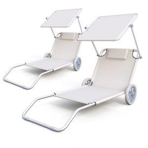 CHAISE LONGUE Lot De 2 Chaises Longues Plage Alu Avec Chaise