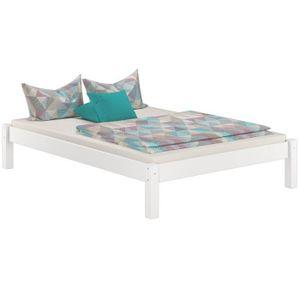 STRUCTURE DE LIT 60.35-14WM Lit futon pin massif lasuré blanc, desi