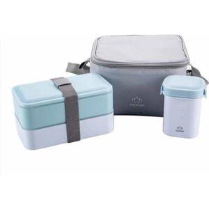 LOT APPAREIL PETIT DEJ Set lunch box avec sacoche isotherme conserva Bleu
