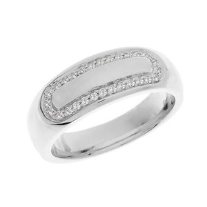 ALLIANCE - SOLITAIRE Bague Alliance 10 ct Or Blanc Diamant Accentués Ho