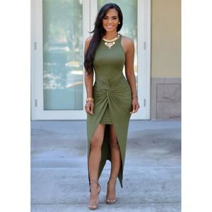 026b1b3714e Robe-tunique femme moulante mi-longue noire col rond sans manche dos du  asymétrique-irrégulière avec plissé et zippé Vert - Achat   Vente robe -  Cdiscount