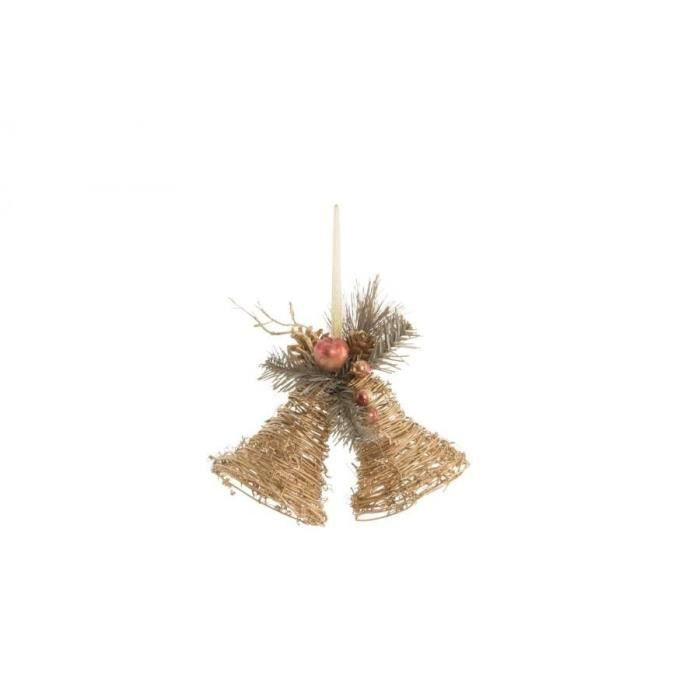 Cloche de Noël suspendu Doré en rotin 20x10x17 cm