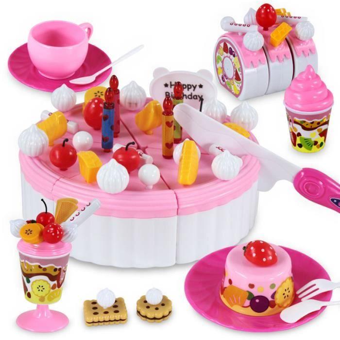 g teau d 39 anniversaire jeux de simulation alimentaire set de jouets plastic cutting diy pretend. Black Bedroom Furniture Sets. Home Design Ideas