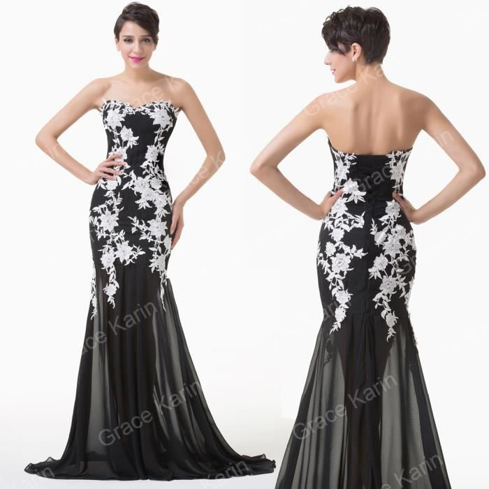 robe de mariee blanc et noir achat vente pas cher. Black Bedroom Furniture Sets. Home Design Ideas