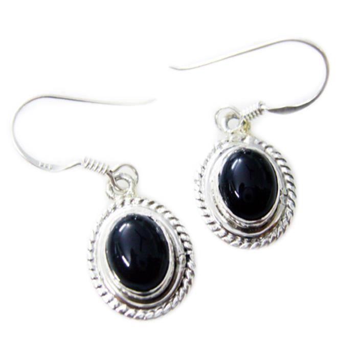 Noir Onyx Earring - Boucle dArgent - Boucles doreilles Noir - Boucles doreilles Argent Noir