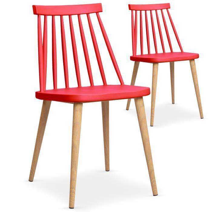 Lot de 2 chaises scandinaves trouville rouge achat vente chaise rouge cdiscount