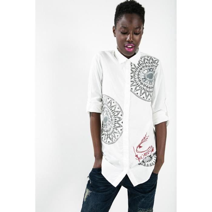 Desigual CAM BLACKVILLE Blanc - Achat   Vente chemisier - blouse ... a943476ab4c6