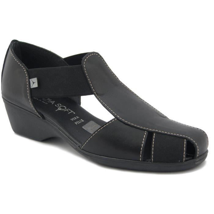 CINZIA SOFTchaussure / Sandale en cuir noir, talon 4cm. et semelle antidérapante en caoutchouc, 8050 E17