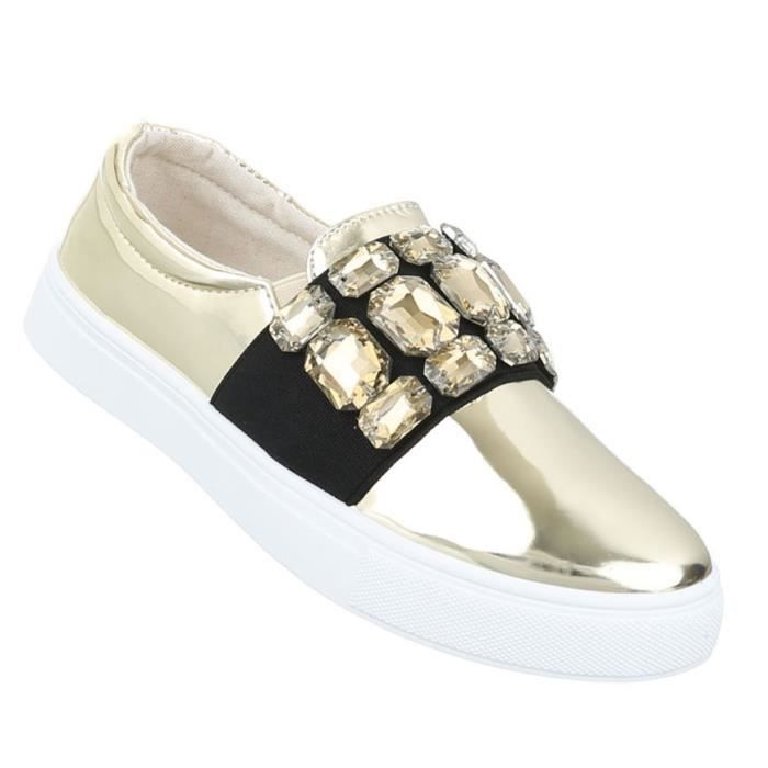 Femme chaussure bassechaussures Slipper Loafer or 41