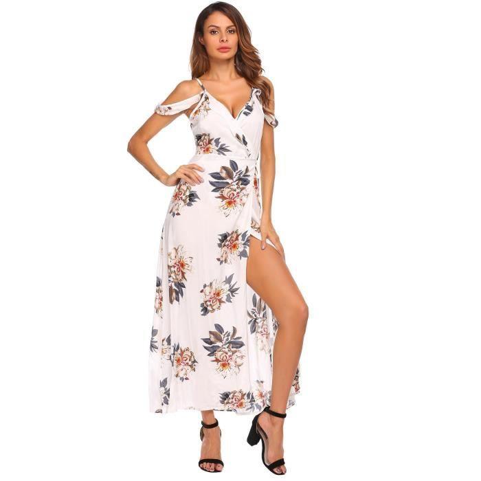Robe à encolure élastique pour femmes à imprimé floral .