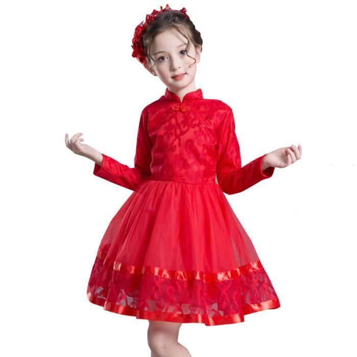 Fille Robe Robe de princesse Automne Hiver Velours Soirée Halloween Noël Style chinois Cheongsam Manches Longues
