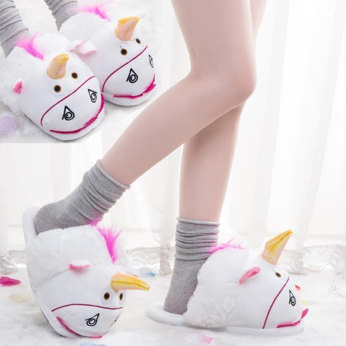 Femme Homme Pantoufles Peluche Chaussure Licorne Chaussons Suople Maison s1BfqN