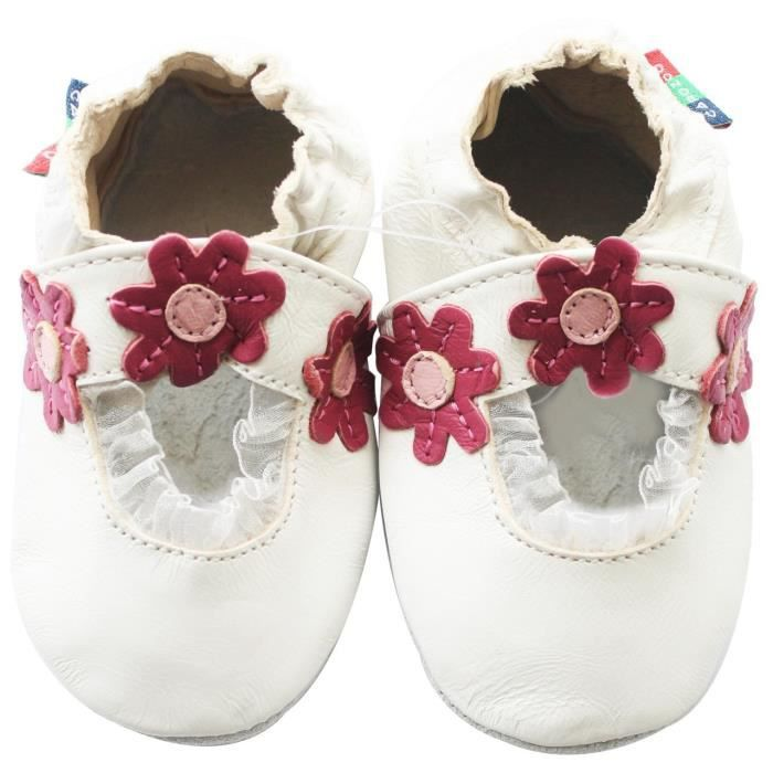 Chaussons Carozoo enfant cuir souple Daisy Mary Jane blanc ouvert