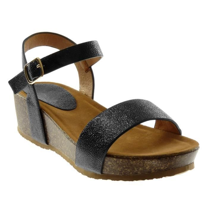 Angkorly - Chaussure Mode Sandale lanière cheville ouverte plateforme femme brillant grainé liège Talon compensé 5 CM - Noir -
