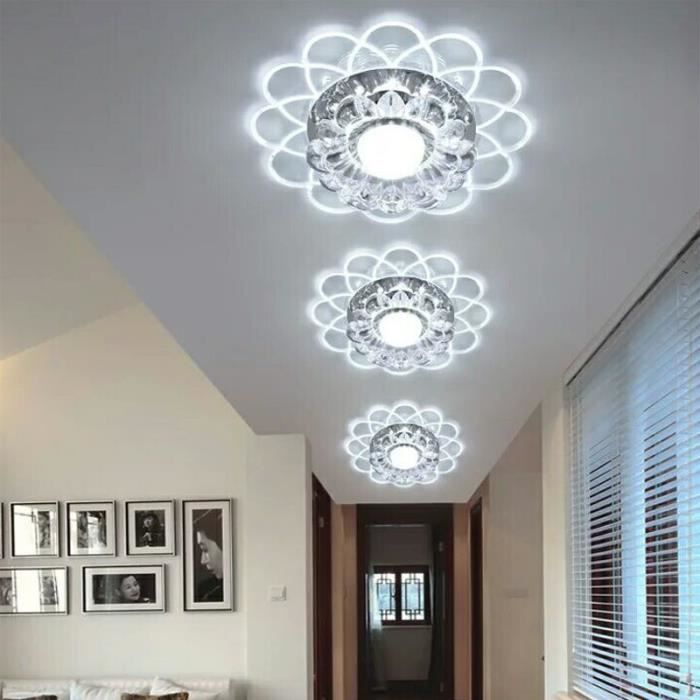 neufu lampe de plafond lotus 3w led smd 5730 crystal lustre chambre couloir blanc achat. Black Bedroom Furniture Sets. Home Design Ideas
