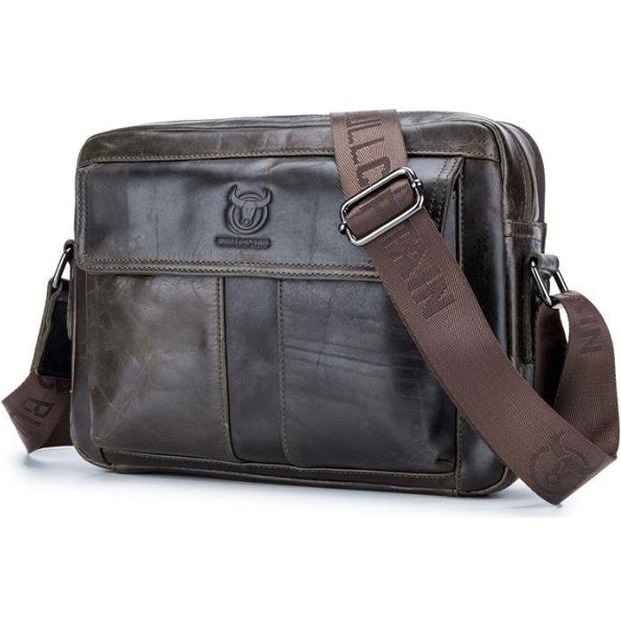 52b176917c BULLCAPTAIN sac d'hommes en cuir veritable, sac a bandouliere occasionnel  d'epaule pour homme d'affaires, cuir de vache, grande