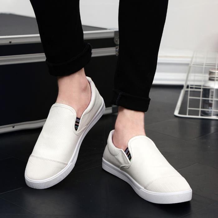 chaussures multisport Homme de sport Casual Canvas Slip sur Mocassins blanc taille10 PW9UxXDy