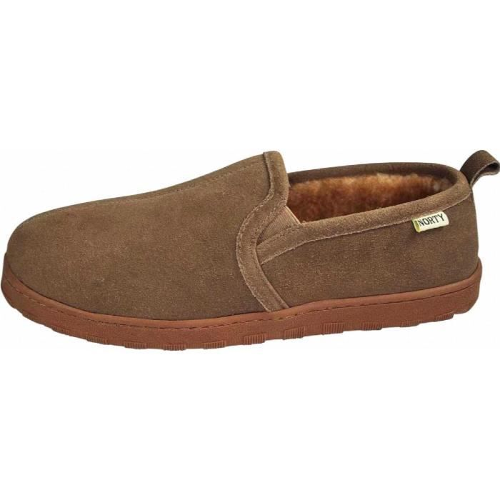 Mens Genuine Leather Cowhide Suede Slippers - Twin Gore Slip On Loafer - Lux Plush Fur Lining YIYX3 Taille-39