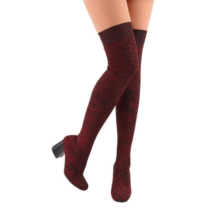 Brut-22 Glitter Slip On Chunky Heel Over The Knee Sock Stretchy Fitted Boots HVB3H Taille-37 1-2