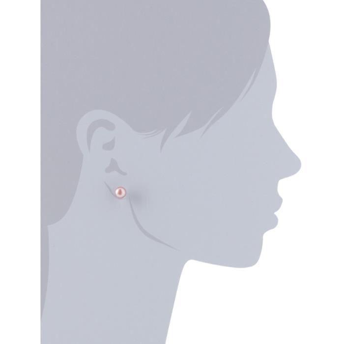 Am005 - Boucles Doreilles Femme - Argent 925-1000 Rhodié - Perle De Culture Deau Douce DJT3A