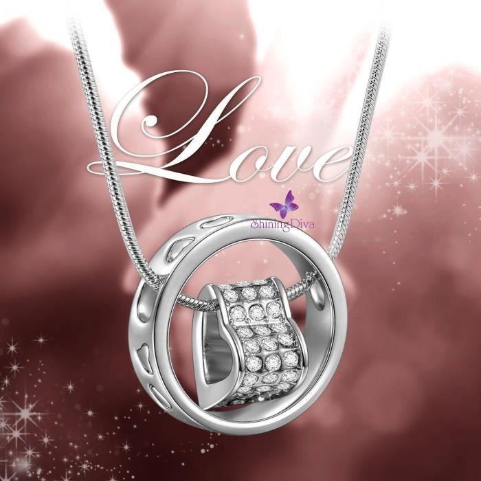 Cadeaux Saint-Valentin de la femme: Diva brillant or blanc 18 carats plaqué Collier avec pendentif coeur cadeau pour etQIB5G