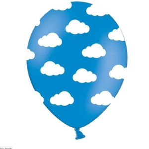 BALLON DÉCORATIF  1 Lot de 6 ballons bleu nuage blanc 30cm anniversa