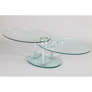 TABLE BASSE Table à Plateaux Pivotants SPLASH 2 verre et acier