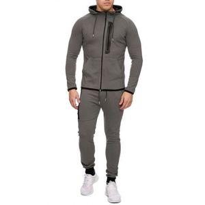 SURVÊTEMENT DE SPORT Ensemble jogging veste gris zip noir