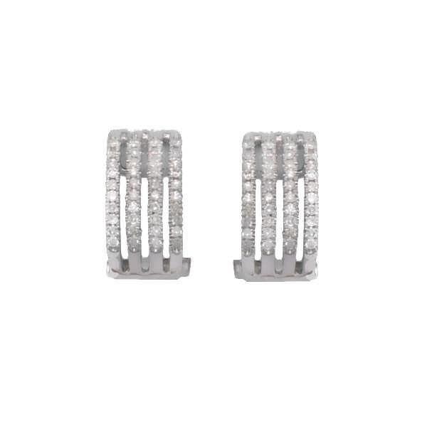 MONTE CARLO STAR - Boucles D'Oreilles Pavé Diamants et Or Blanc 18 Carats - Femme