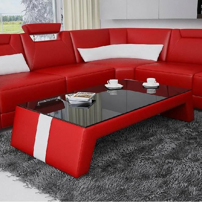 table basse design rouge et blanc taly - achat / vente table basse