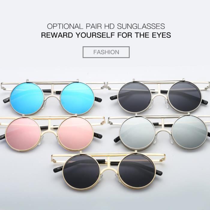 ee493cbe396d45 Noir Retro homme couvercle de en soleil Lunettes femme polarisées sunglasses  ronde et Flip Argent mixte ...