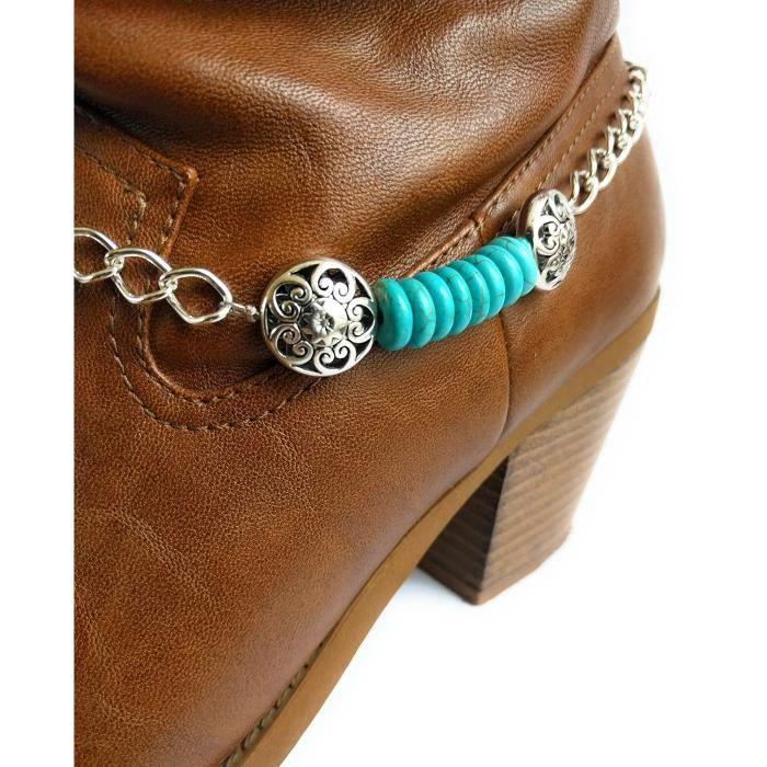 Chaîne Bracelet Boot Western Women Turquoise Concho Diapositives 15 pouces D3AC0