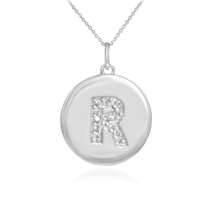 Pendentif 10 ct Or Blanc 471/1000 première lettrependentif en forme de diamant disque r