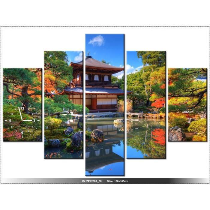 150 x105 cm - PAYSAGE - JARDIN JAPONAIS - HORLOGE MURALE TABLEAU ...