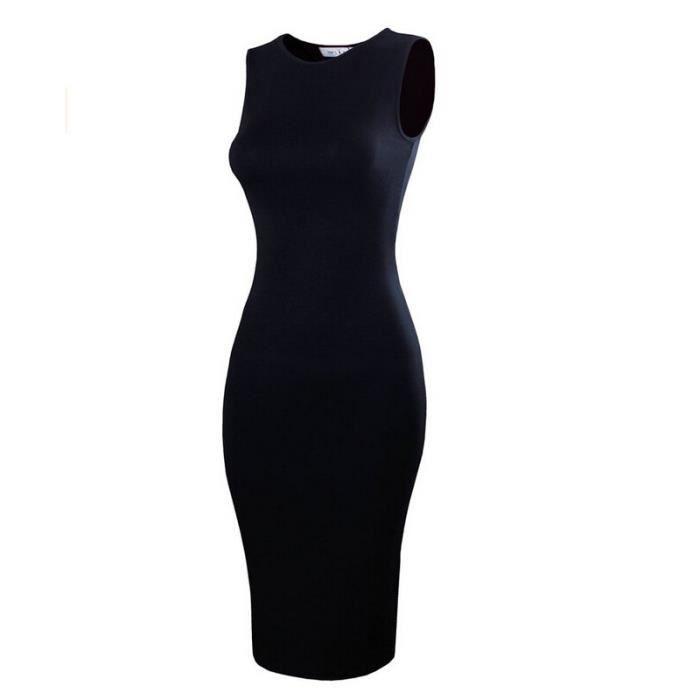 Femme Classique Slim Fit manches Midi Dress black