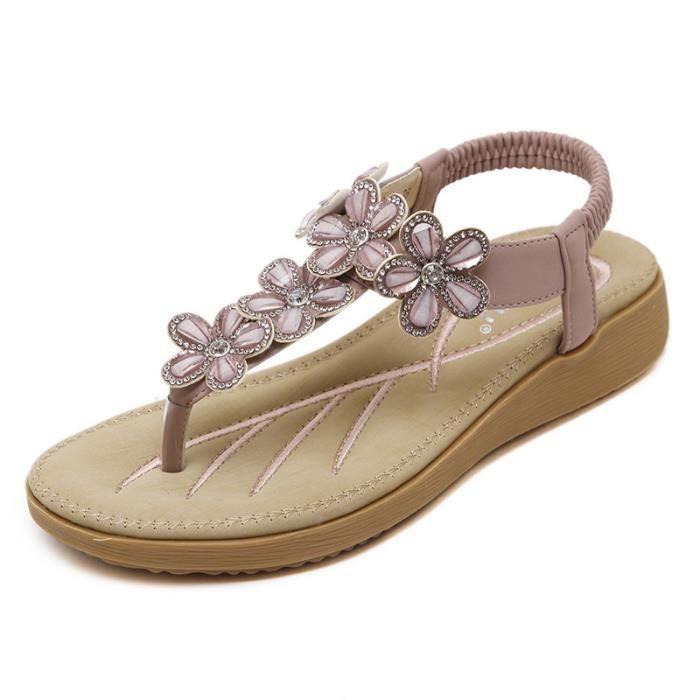 Femme sandales fleurs En strass sandales Beige rIiVjaNCw