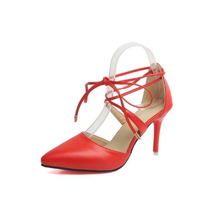 f6b65e2a10550 Eté Femmes sangle cheville sandales pointues talon élégant minces ...