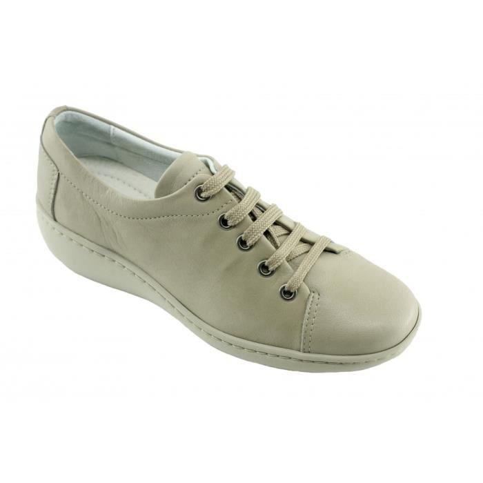 93a86dc930bd Olaf – Derby tennis largeur plus compensé souple flexible confortable  chaussures grande largeur Femme pieds sensibles cuir beige
