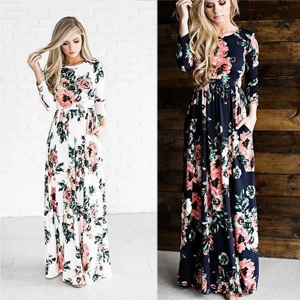 SHELOVEIT® Maxi Robes Femmes Mode Printemps 3-4 Manche Floral Imprimé