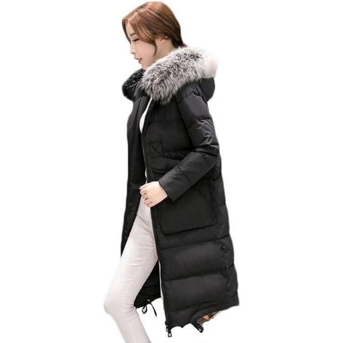 f672b21a391 doudoune longue femme noir slim col en fausse fourrure de epaississant  Vêtement