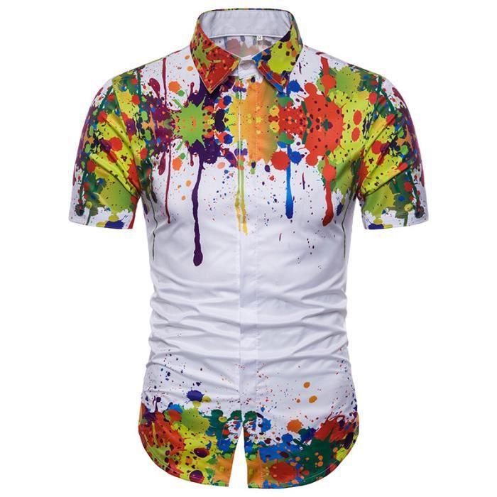 bec80fed9e9683 CHEMISE - CHEMISETTE Hommes Peindre Imprimees Chemises Manches Courtes
