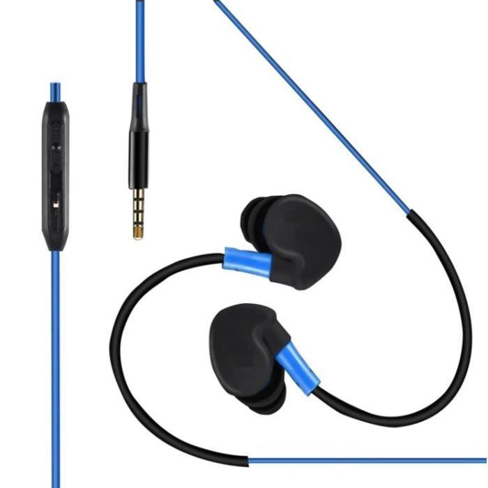 Ecouteurs Sport Pour Htc U Play Smartphone Avec Micro Et Bouton Réglage Son Kit Main Libre Intra-auriculaire Jack Universel (bleu)