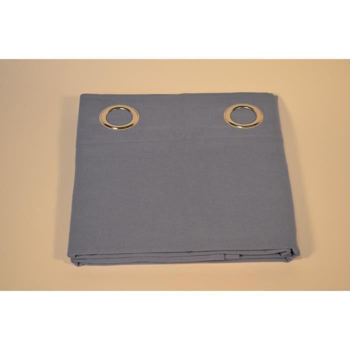 2 Rideaux occultant bleu pastel 140x240 cm pur coton à œillets ...