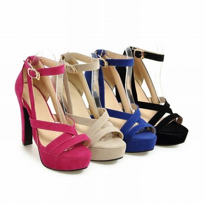 2017 Mode féminine sexy talon haut lacets Sandales de haute qualité Chaussures à bout ouvert,rouge,10