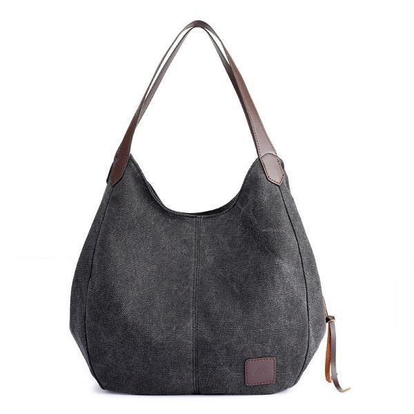 SBBKO4005FemmesQualitéToileThreeLayerLarge Capacity Casual Vintage Handbag Shoulder Bag Gris
