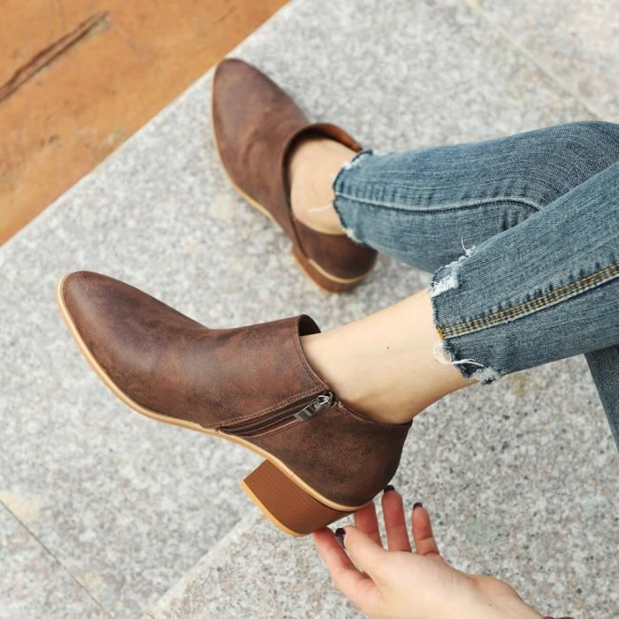 Courtes Solide Automne Marron Martin Cheville Chaussures Femmes Cuir Bottes Mode aZx4gOqw