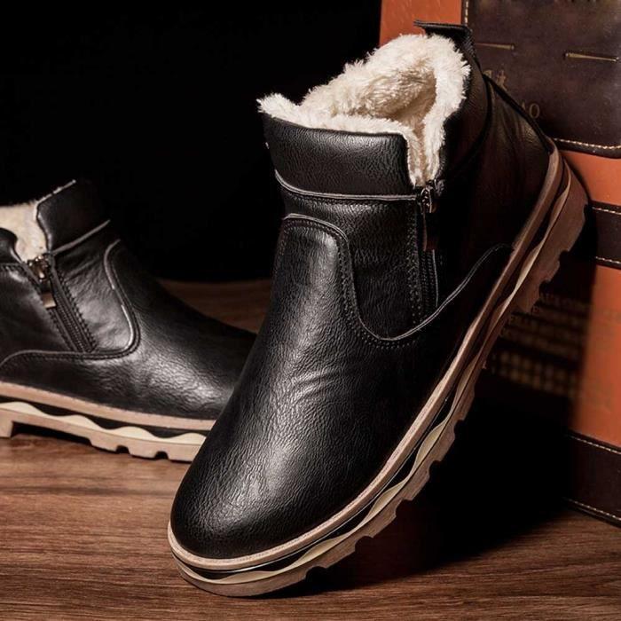 Veberge Des Hommes D'hiver Étudiants Cuir Bottes De casual Peluche Neige Pour Wll3358 En Martin wnqRrfpw